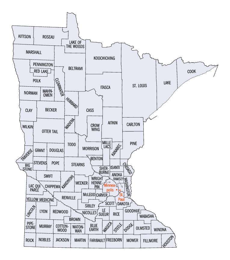 County Minnesota Map.State Of Minnesota