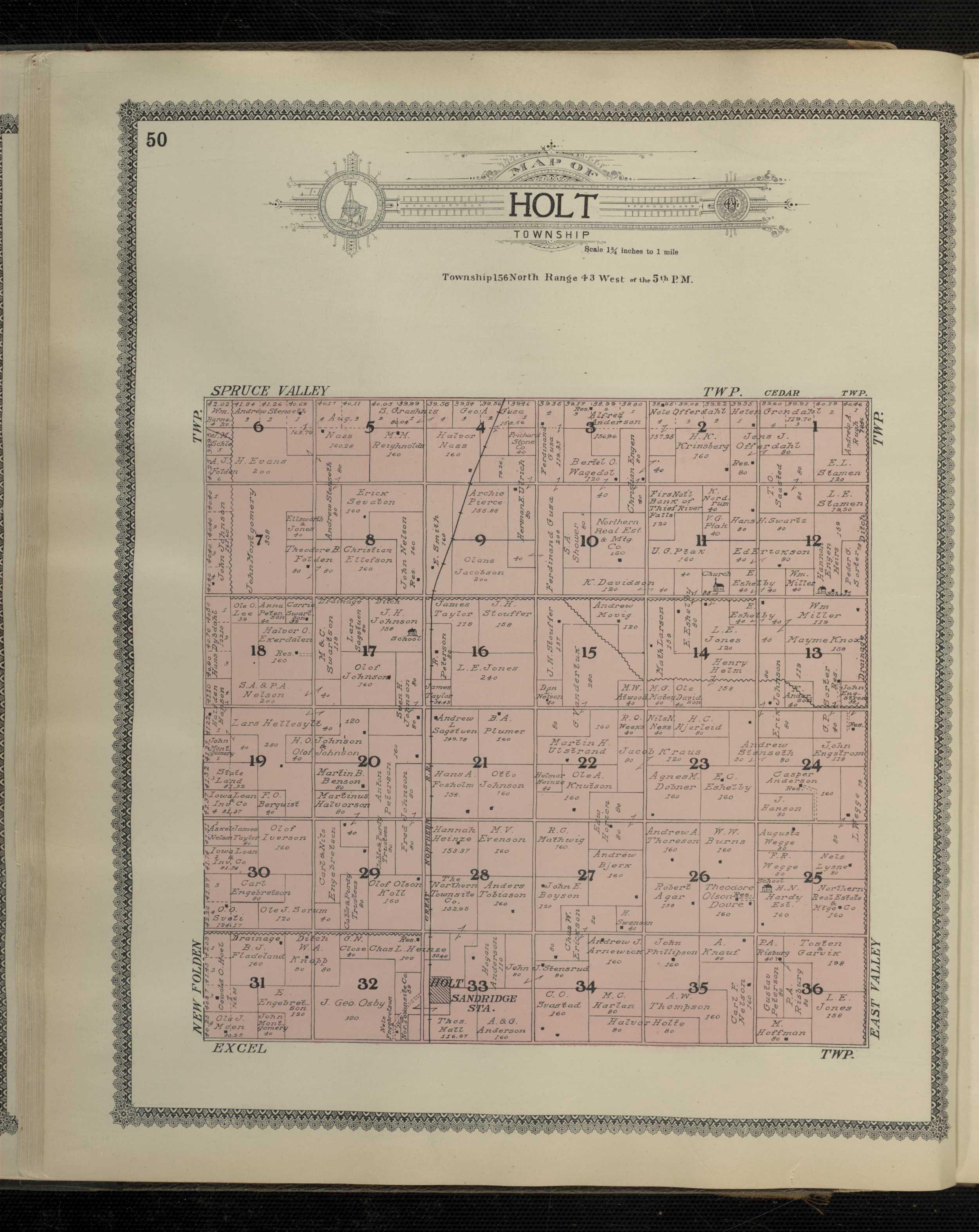 Holt Township Plat map 1909